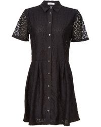 Equipment Short Sleeve Buttonfront Mini Lace Dress - Lyst