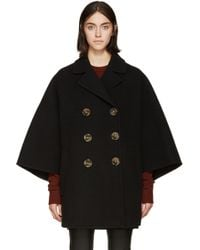 Burberry Prorsum - Black Felted Wool Poncho Coat - Lyst