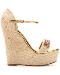 Gucci Carolina Embellished Espadrille Wedge Sandals - Lyst