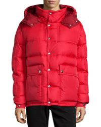 Moncler Brel Puffer Jacket With Removable Hood red - Lyst