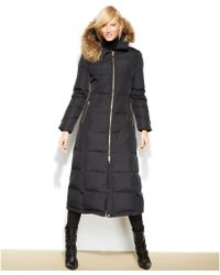 Calvin Klein Hooded Faux-Fur-Trim Down Puffer Maxi Coat - Lyst