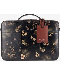 Ted Baker - Printed Leather Laptop Bag - Lyst