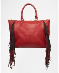 Urban Originals - Fringed Tote Bag - Cherry - Lyst