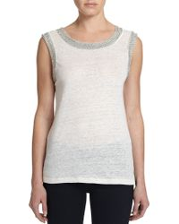Generation Love Crystal-Embellished Linen Tank Top - Lyst