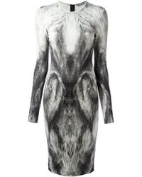 Alexander McQueen Fox Print Pencil Dress - Lyst