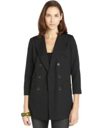 Rachel Zoe Black Stretch Wool Blend Woven Doublebreasted Antibes Jacket - Lyst