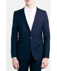 Topman Skinny Fit Navy Pin Dot Suit Jacket - Lyst