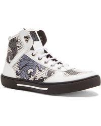 Versace Men'S Printed High Top Leather Sneakers - Lyst