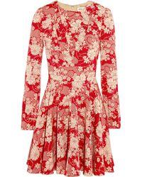 Saint Laurent Floral-Print Crepe Mini Dress - Lyst