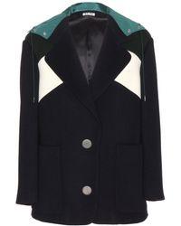 Miu Miu Hooded Wool Jacket - Lyst
