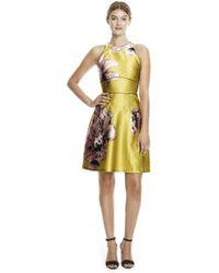 Lela Rose   Floral Satin Halter Dress   Lyst