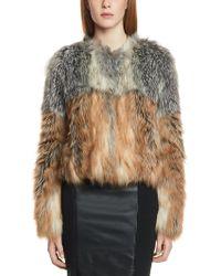 Patrizia Pepe Short Coat in Fake Fur Silver Fox Effect - Lyst