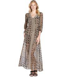 Nanette Lepore Sand Multi Print Chiffon 'Apache' Sheer Maxi Dress - Lyst