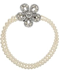 Miu Miu Silverplated Swarovski Pearl and Crystal Necklace - Lyst