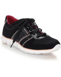 Cole Haan Zerogrand Patent Neoprene Suede Sneakers black - Lyst