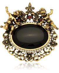Alcozer & J   Golden Brass Gemstones With Little Angels Brooch   Lyst