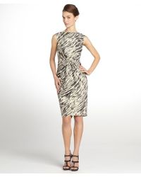 Badgley Mischka Black and Ivory Abstract Zebra Gathered Front Cocktail Dress - Lyst