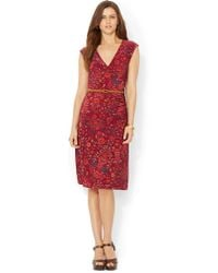 Lauren by Ralph Lauren Petite Jersey Faux Wrap Dress - Lyst