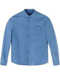 A.P.C. Denim Shirt blue - Lyst