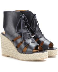 A.P.C. Leather Espadrille Wedge Sandals - Lyst