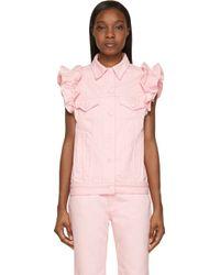 J Brand x Simone Rocha Pink Ruffled Denim Vest - Lyst