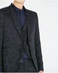 Zara Blue Jacquard Blazer - Lyst