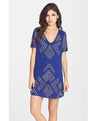 French Connection 'Confetti Grid' Beaded Shift Dress - Lyst