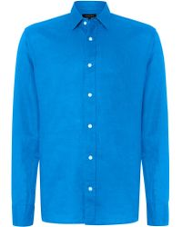 Jaeger Linen Long Sleeve Classic Collar Shirt - Lyst