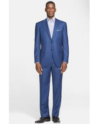 Canali Classic Fit Solid Wool Suit blue - Lyst
