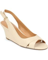 Nine West Perceive Leather Wedge Shoes - For Women, Light Salmon (Pink) - Lyst