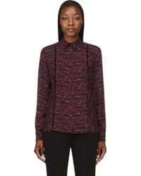 Proenza Schouler Fuchsia and Black Printed Silk Blouse - Lyst