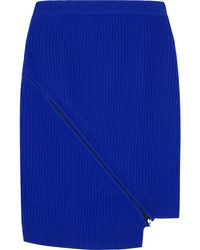 Opening Ceremony Zipdetailed Ribbed Wool Mini Skirt - Lyst
