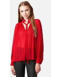 Topshop Pleated Sheer High Neck Blouse - Lyst