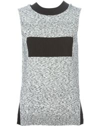 Paco Rabanne Ribbed Band Marled Knit Top - Lyst