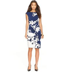 Lauren by Ralph Lauren Floral Print Jersey Dress - Lyst