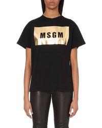 MSGM Logo-Print Metallic Cotton T-Shirt - Lyst