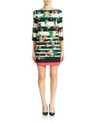 Eliza J Striped Floral Shift Dress - Lyst