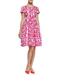 Oscar de la Renta Short-Sleeve Printed Fit & Flare Dress - Lyst