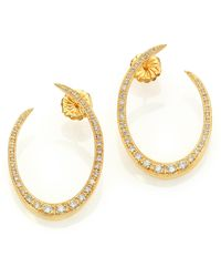 Ila & I - Franklin Diamond & 14K Yellow Gold Crescent Earrings - Lyst