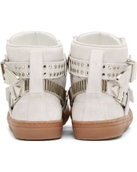 Toga Pulla - Ssense Exclusive White Suede Silver Buckle Gumsole Sneakers - Lyst