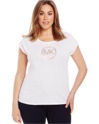 Michael Kors Michael Plus Size Studded Logo Tee white - Lyst