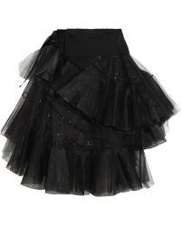 Junya Watanabe Tiered Wool Gabardine and Tulle Wrap Skirt - Lyst