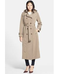 London Fog Long Trench Coat With Removable Hood - Lyst
