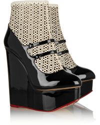 Charlotte Olympia Gretal Laser Cut Leather Wedge Pumps - Lyst