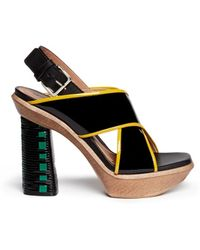 Marni Woven Block Heel Patent Leather Sandals - Lyst