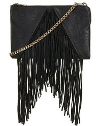 Topshop Faux Suede V-Panel Tassel Clutch - Lyst