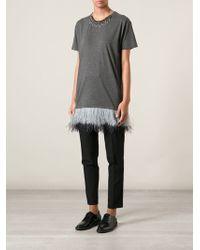 Lanvin Feather Hem Tshirt - Lyst