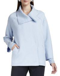 Eileen Fisher Blue Boiledwool Coat - Lyst