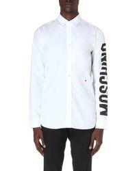 Moschino Logosleeve Cotton Shirt White - Lyst