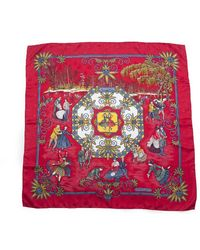 Hermès Pre-Owned Joies D' Hiver Silk Scarf red - Lyst